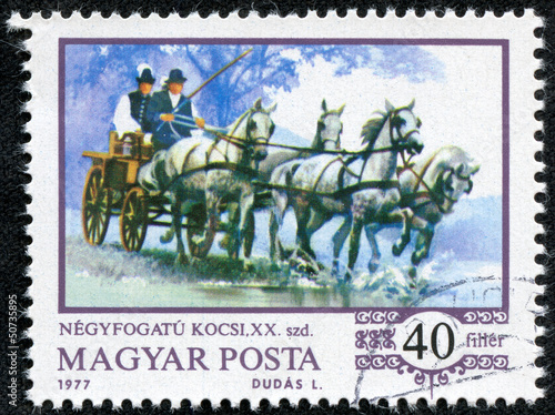stamp shows World champion Imre Abonyi, driving four-in-hand