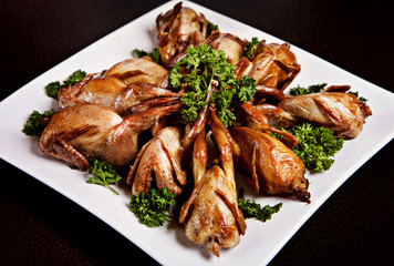 Cooked quail with parsley