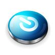 Vector blue glossy power button icon