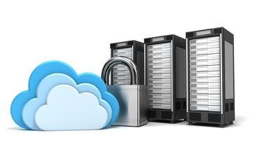 3 gesicherte Cloud Computing Server, verschlüsselt