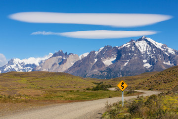 Road sign in the national park Torres del Paine, Chile