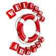 Спасательный круг и надпись Welcome aboard