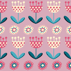 Seamless pattern with tulips on the pink background