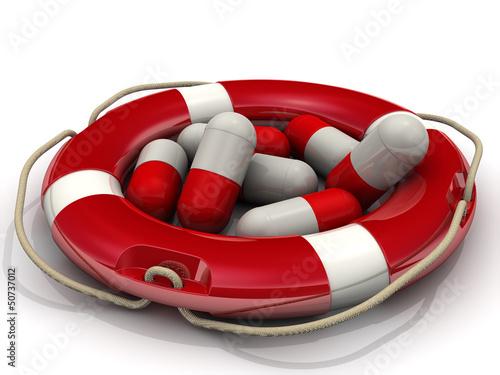 Таблетки в спасательном кругу