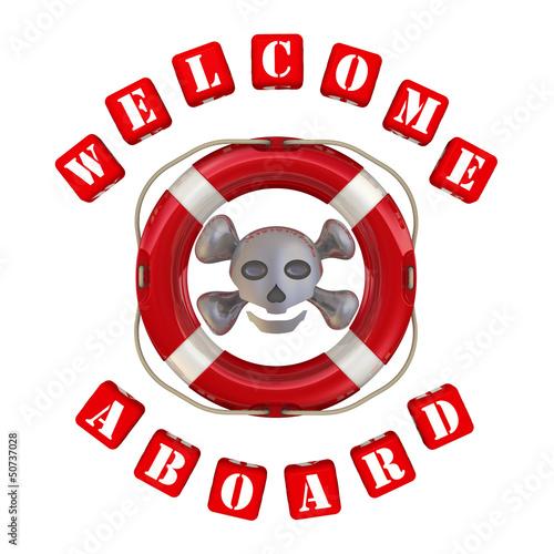Веселый Роджер в спасательном кругу и надпись Welcome aboard