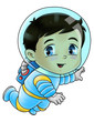 Cute cartoon illustration of an astronaut