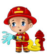 Leinwanddruck Bild - Cute cartoon illustration of a fireman