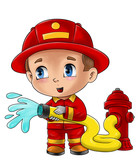 Cute cartoon illustration of a fireman