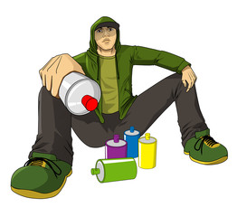 Cartoon illustration of a male figure with spray cans