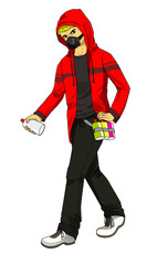 Cartoon illustration of a male figure holding a spray can ready