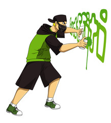 Cartoon illustration of male figure drawing graffiti using spray