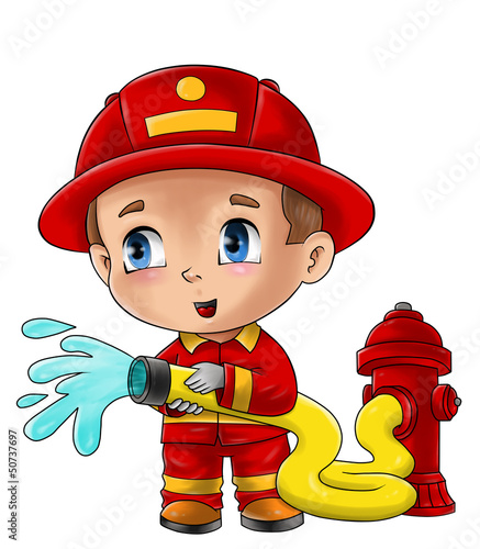 Leinwanddruck Bild Cute cartoon illustration of a fireman