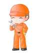 Cute cartoon illustration of a mechanic holding a wrench