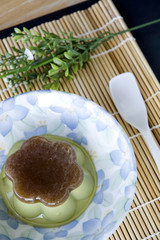 pudding green tea on floral plate
