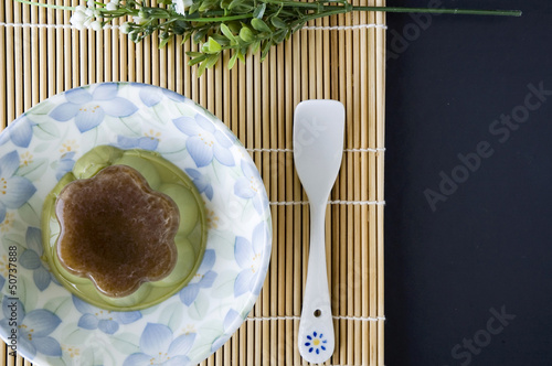 pudding green tea serve on plate