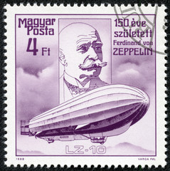 stamp printed by Hungary, shows Count Ferdinand von Zeppelin
