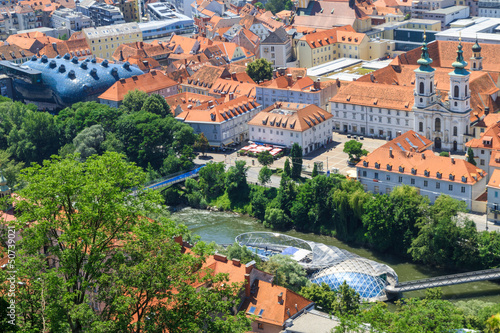 Graz, Aerial view of city center, Austria