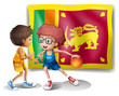 The flag of Sri Lanka with the two basketball players