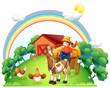 A boy riding in his farm cart