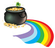 A pot of gold coins with a green plant