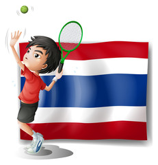 An athlete in front of the Thailand flag