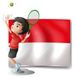 A tennis player with the Indonesian flag