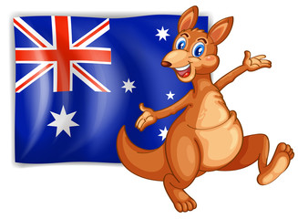 A kangaroo presenting the flag of Australia