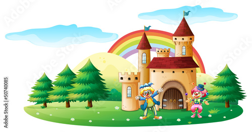 Papiers peints Chateau Two clowns in front of a castle