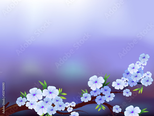 A stationery design with blooming flowers