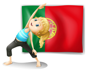 A young woman in front of the Portugal flag