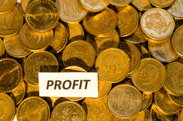 Profit sign at a stack of golden coins