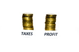 Taxes and profit signs at coin piles