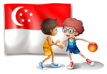 The Singaporean flag and the basketball players