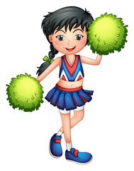 A cheerleader with her green pompoms