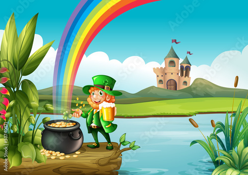 Papiers peints Chateau A man and a pot of gold above the trunk across the castle