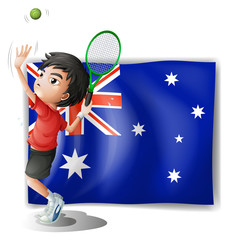 An athlete in front of the Australian flag