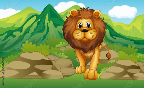 Alion with a mountain scenery at the back