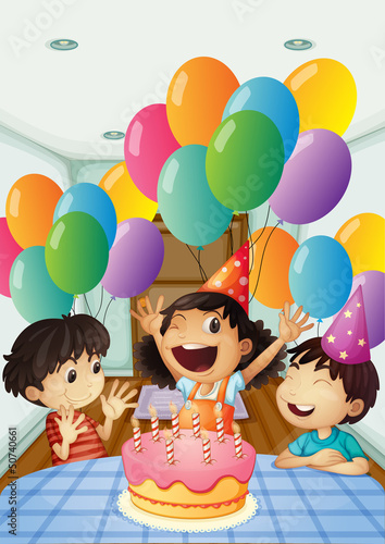 A birthday celebration with balloons and cake