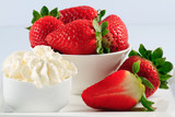 Dessert, fresh strawberries and whipped cream
