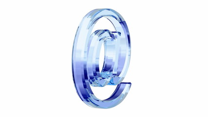 blue glass e-mail symbol loop rotate on white background