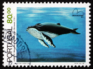 Postage stamp Portugal 1983 Humpback Whale, Baleen Whale