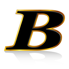 B アルファベット 黒 金