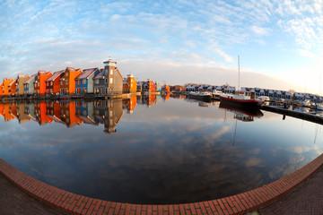 fisheye view on Reitdiephaven in Groningen