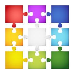 9 farbige Puzzelteile