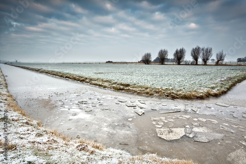 ice on frozen river in Dutch farmland
