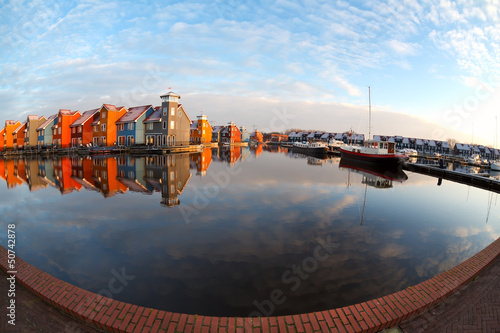 fisheye view on Reitdiephaven in Groningen