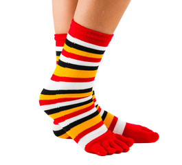 Colorful striped socks isolated