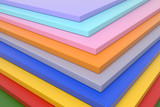 Colorful chipboard for children`s furniture. poster