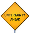 Road sign indicating uncertainty ahead