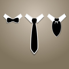 Vector illustration of tie, bow tie and neckerchief